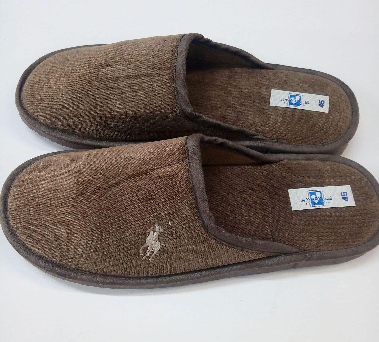 Ανδρικές παντόφλες Amaryllis Slippers,5311,καφέ με κέντημα.