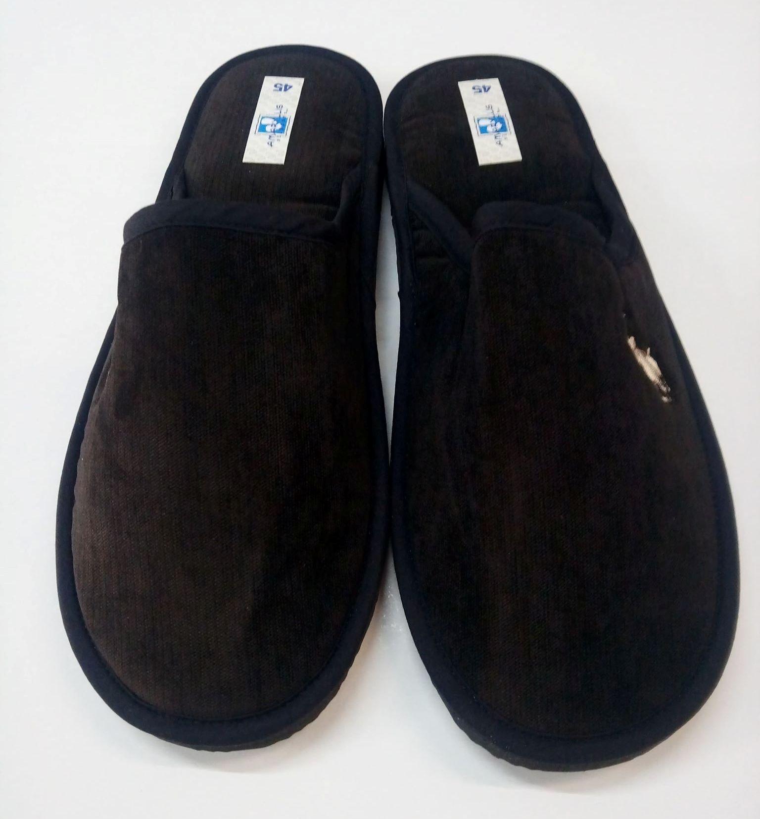 Ανδρικές παντόφλες Amaryllis Slippers ,5311,σκούρο καφέ, με κέντημα.
