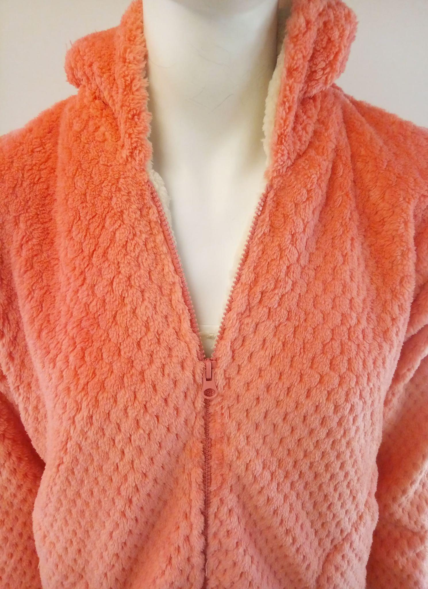 """Ρόμπα fleece """"PROMISE N02503"""",μέχρι τη μέση,πορτοκαλί."""