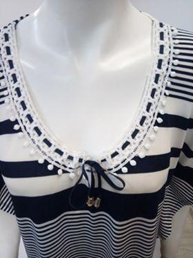 """Φόρεμα-Καφτάνι """"CLAIRE KATRANIA 8822"""", μπλε-λευκό."""