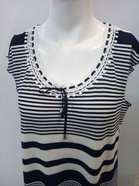 """Φόρεμα """"Claire Katrania 8826"""", λευκό-μπλε ριγέ."""